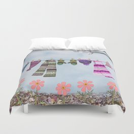 winter's over clothesline with juncos Duvet Cover