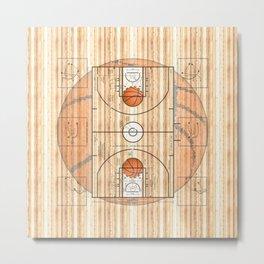 Basketball Court with Basketballs Metal Print