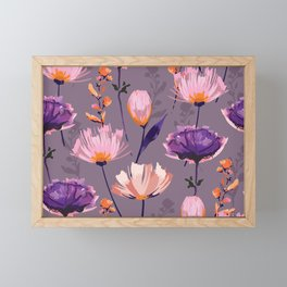 Purple Wildflower in Watercolor Framed Mini Art Print