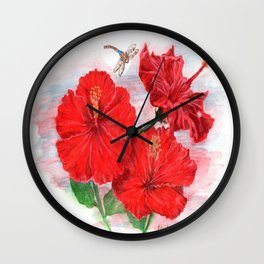 Hibiscus and Dragonfly Wall Clock