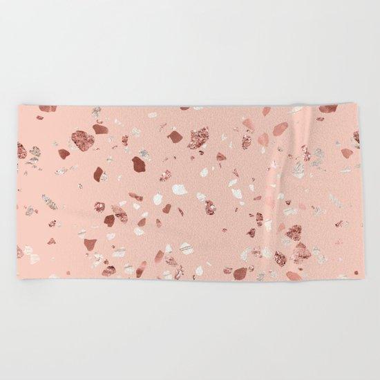 Deep Pink Quartz Gold Terrazzo Beach Towel