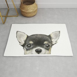 Chihuahua mix color Dog illustration original painting print Rug