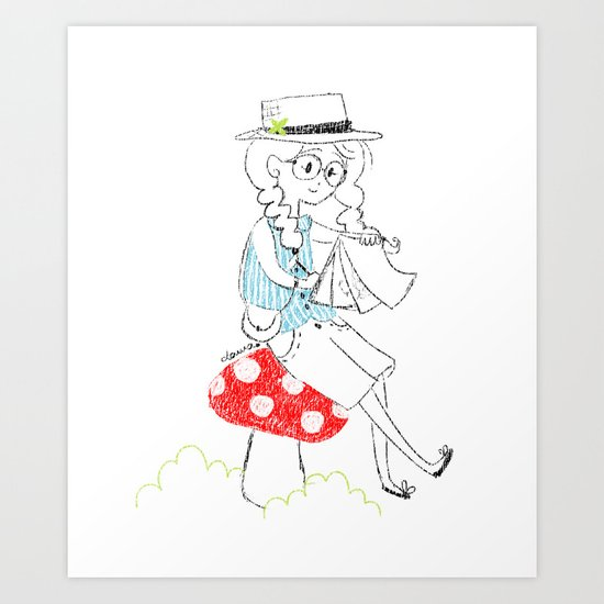 Girl drawing. Art Print