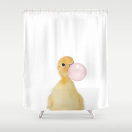 Bubble Gum Ducky Shower Curtain