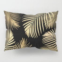 Gold Palm Leaves on Black Pillow Sham
