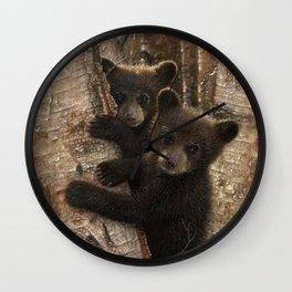 Black Bear Cubs - Curious Cubs Wall Clock