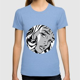 Girl with Hair Ribbon B&W T-shirt