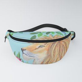 lion, jungle tropical rain forest zen botanical Fanny Pack