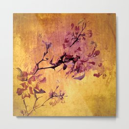 japanese crab apple flowers on golden tones Metal Print