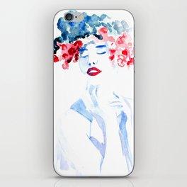 Watercolor flower girl 2 iPhone Skin