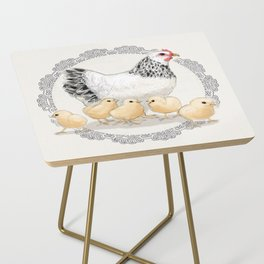 Mother Hen and Her Chicks in Crochet Wreath Side Table