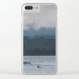 Lone Surfer - Hanalei Bay - Kauai, Hawaii Clear iPhone Case