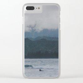 Lone Surfer - Hanalei Bay - Kauai, Hawaii Clear iPhone Case