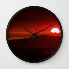Modern Red Skies At Night Wall Clock