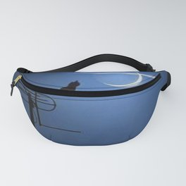 'Goodnight Moon - Cat on a Roof' portrait Fanny Pack