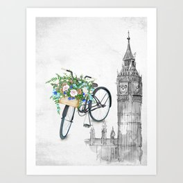 Black Vintage Bicycle in London Art Print