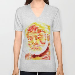 ERNEST HEMINGWAY - watercolor portrait .5 Unisex V-Neck