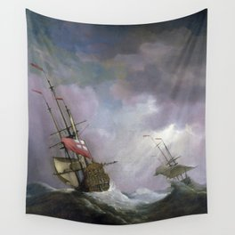 An English Ship at Sea Running In a Gale by Willem van de Velde the Younger (1700) Wall Tapestry
