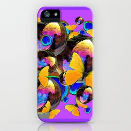 PANTENE ULTRA VIOLET GOLD BUTTERFLY BUBBLES DECORATIVE ART iPhone Case
