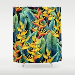 Watercolor heliconia design Shower Curtain