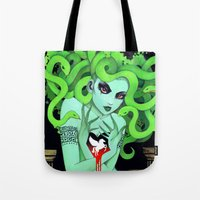 medusa Tote Bags featuring Medusa by Leilani Joy