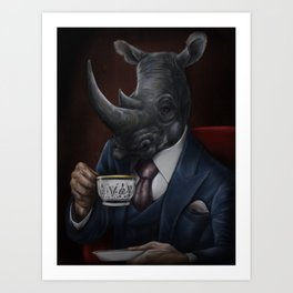 Gentleman Rhino Art Print
