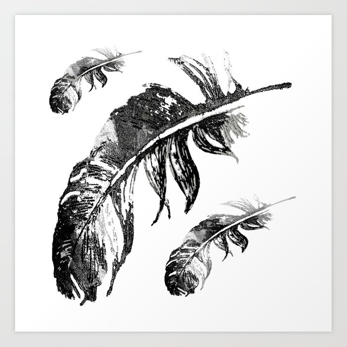 FEATHERS IN BLACK WHITE AND GRAY Art Print