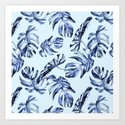 Tropical Palm Leaves Blue by naturemagick