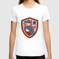 british flag T-shirts featuring British Bobby Policeman Truncheon Flag Shield Retro by patrimonio