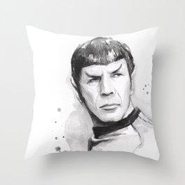 Spock Portrait Watercolor Sci-fi Geek Art Throw Pillow