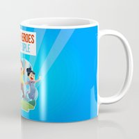 super heroes Mugs featuring Super Heroes Love People by youngmindz