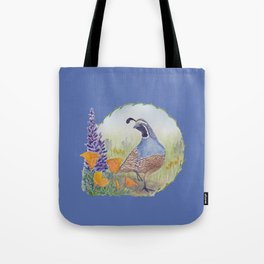 California Quail with Poppies and Lupine on Blue Tote Bag
