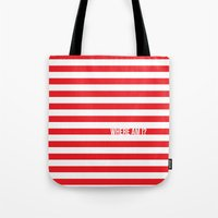 waldo Tote Bags featuring Self Aware Waldo by Emily Young Design