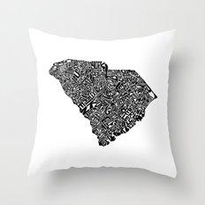 Typographic South Carolina Throw Pillow