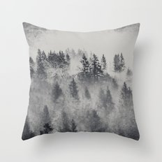 Black and White Charcoal Fog Forest Throw Pillow