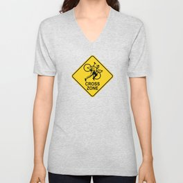 Cyclocross Zone Road Sign Unisex V-Neck