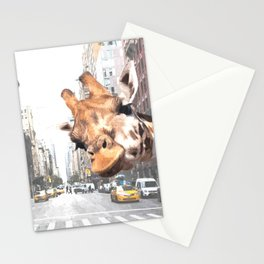 Selfie Giraffe in New York Stationery Cards
