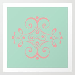 Curly-Que Pink and Blue Art Print