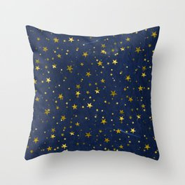 Golden Stars on Blue Background Throw Pillow