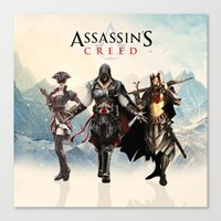 assassins creed Canvas Prints featuring Assassins Creed Attack by bivisual