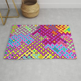 Abstract Psychedelic Pop Art Truchet Tile Pattern Rug