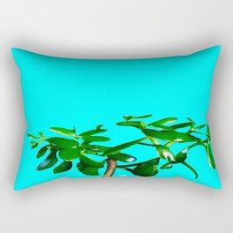 Good Luck Succulent Tree on Sky Blue Rectangular Pillow