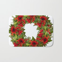 Red And Green Wreath On A White Background - Arrangement Of Flowers And Berries #decor #society6 Bath Mat