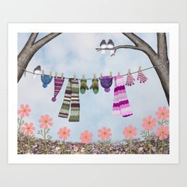 winter's over clothesline with juncos Art Print