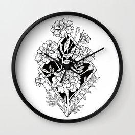Geometric Marigold Flowers Wall Clock