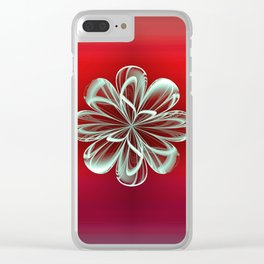 Cyan Bloom on Red Clear iPhone Case