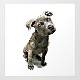 Pitbull Puppy Art Print