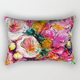 pink bouquet with two white buttercups Rectangular Pillow