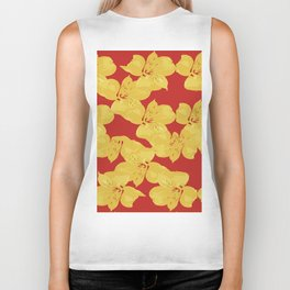 Yellow Lilies on Red Biker Tank