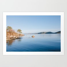 Norwegian fjord landscape in winter Art Print